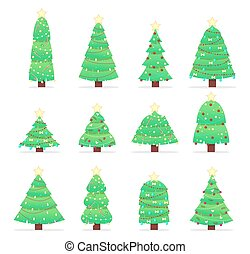Seamless pattern of cartoon trees