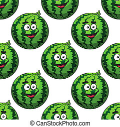 Seamless pattern of cartoon watermelons