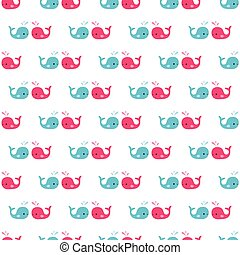 Seamless pattern of cartoon whales