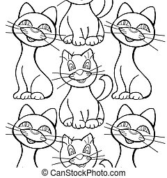 Seamless pattern of cats