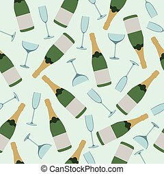 Seamless pattern of champagne and glasses