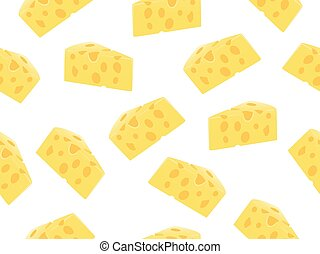 Seamless pattern of cheese slice on a white background