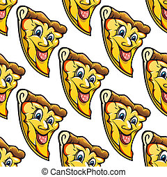 Seamless pattern of cheesy salami cartoon pizza slice
