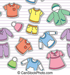 seamless pattern of children's clothes on white striped background