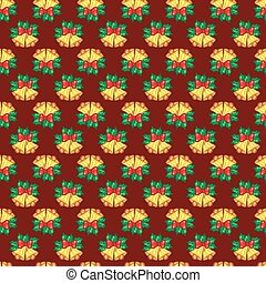 Seamless pattern of Christmas bells with green leaves on red bac