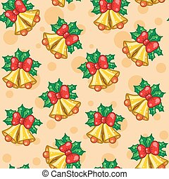 Seamless pattern of Christmas bells with leafs