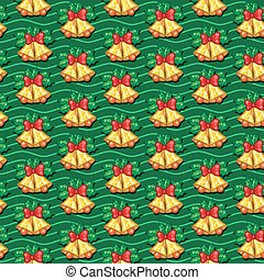 Seamless pattern of Christmas bells with leaves on background wi