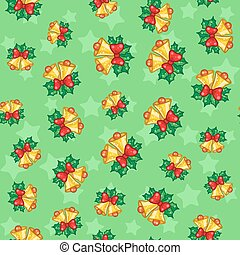Seamless pattern of Christmas bells with leaves on green backgro