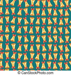 Seamless pattern of Christmas bells with red bows