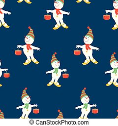 Seamless pattern of christmas cheerful snowmen with gifts