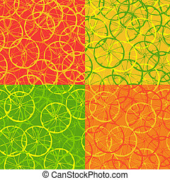 Seamless pattern of citrus fruit - Four options seamless...
