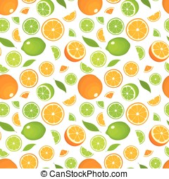 Seamless pattern of citrus fruits - orange and lime with leaves, whole products and slices on white background. Vector illustration in colour. Cover for design.