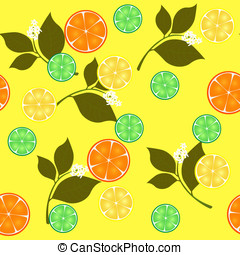 Seamless pattern of citrus fruits