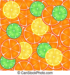 Seamless pattern of citrus, orange