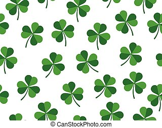 Seamless pattern of clover leaves on white background - St Patrick day