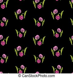 Seamless pattern of clover sketches
