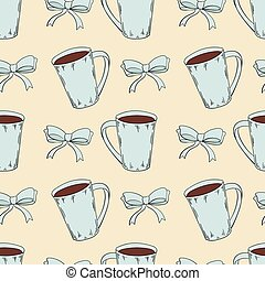 Seamless pattern of cocoa with bow knots in cartoon style