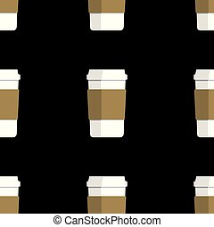 seamless pattern of coffee cups on black background