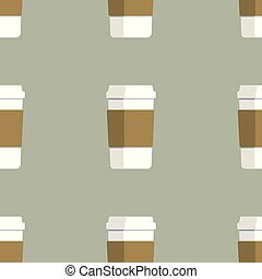 seamless pattern of coffee cups on green background