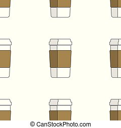 seamless pattern of coffee cups on white background