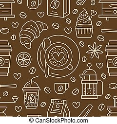 Seamless pattern of coffee, vector background. Cute...