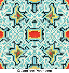seamless pattern of colored small pixels