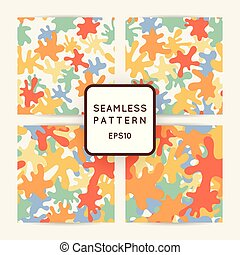 Seamless pattern of colored smooth blots and spots.