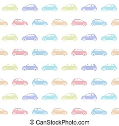 Seamless pattern of colorful car