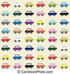 Seamless pattern of colorful cars