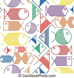Seamless pattern of colorful cartoon fishes