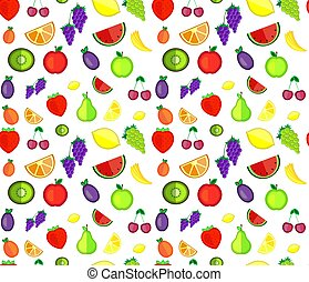 Seamless pattern of colorful cartoon fruit