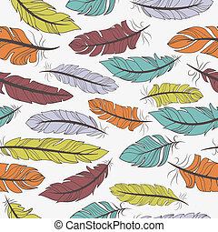 Seamless pattern of colorful feathers - Seamless pattern of...