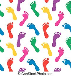 Seamless pattern of colorful footpr