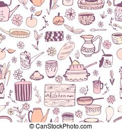 Vector stickers kitchen utensils