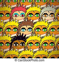 Seamless pattern of colorful multinational girls