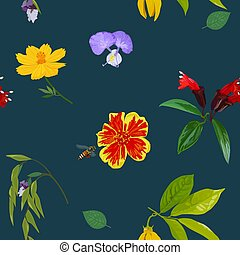 Seamless pattern of colorful realistic flower on green background
