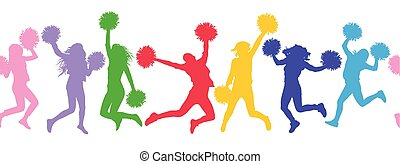 Seamless pattern of colorful silhouettes of jumping girls with poms (cheerleaders). Vector illustration