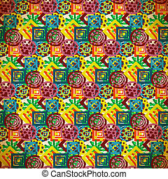 Seamless pattern of colorful small patterns in vintage style