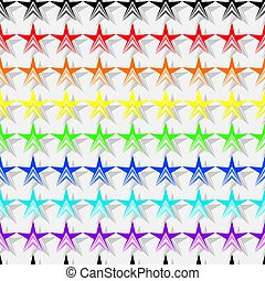 Seamless pattern of colorful stars shapes in rainbow colors, gray shadow, white (light gray) background. Flat design vector.