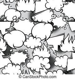 Seamless pattern of comic speech bubbles in cartoon style.