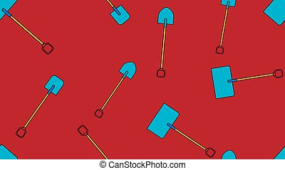 Seamless pattern of construction icons of aggro-beautiful snow bayonet, shovels with wooden handles for digging the ground, snow removal. Garden tools on a red background. Vector illustration