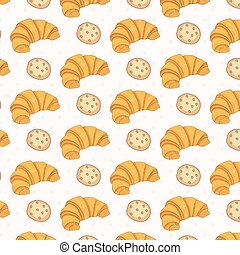 Seamless pattern of croissant .Vector.