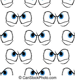 Seamless pattern of cross angry eyes
