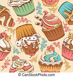Seamless pattern of cupcakes