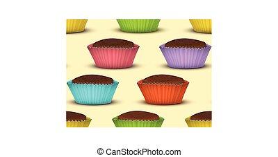 Seamless pattern of cupcakes