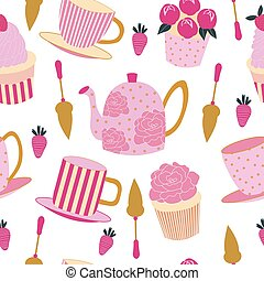 Seamless pattern of cupcakes, strawberries, teapots and teacups on a white background.