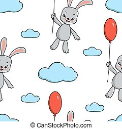 Seamless pattern of cute bunny and red balloon.