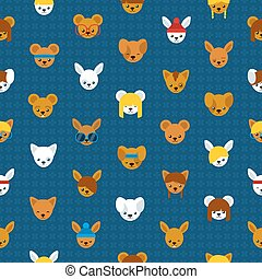 Seamless pattern of cute cartoon animal heads