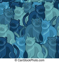 Seamless pattern of cute cartoon cats. Vector illustration