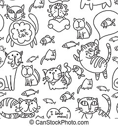Seamless pattern of cute cats